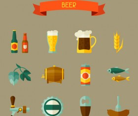 Flat style beer icons with ribbon vector