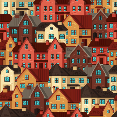 Flat style house seamless pattern vector