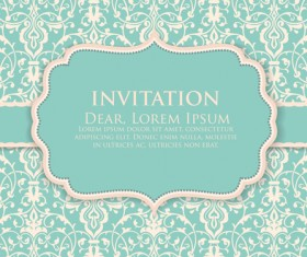 Floral ornate Invitation cards vector material
