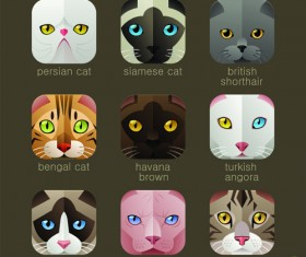 Funny animal icons flat style vector 01