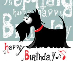 Funny cartoon character with birthday cards set vector 02