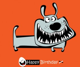 Funny cartoon character with birthday cards set vector 03