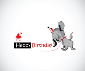 Funny cartoon character with birthday cards set vector 04