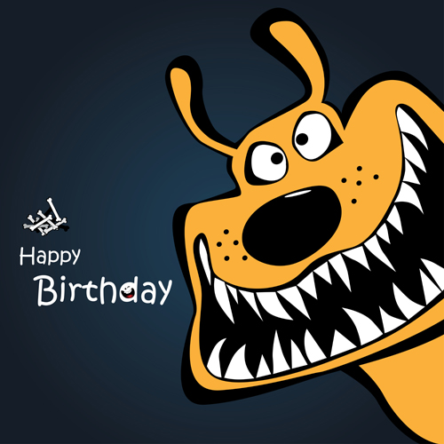 Funny Cartoon Character With Birthday Cards Set Vector 05