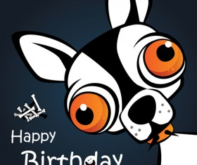 Funny cartoon character with birthday cards set vector 06