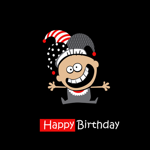 Funny Cartoon Character With Birthday Cards Set Vector 09