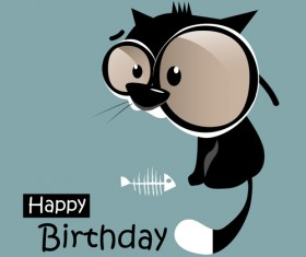 Funny cartoon character with birthday cards set vector 19