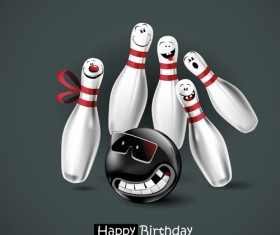 Funny cartoon character with birthday cards set vector 20