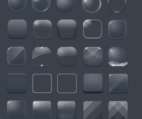 Glass texture blank icons psd