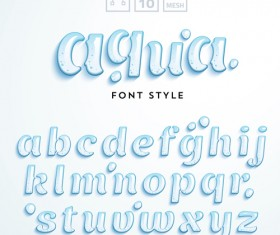 Glass textured alphabet shiny vector 01