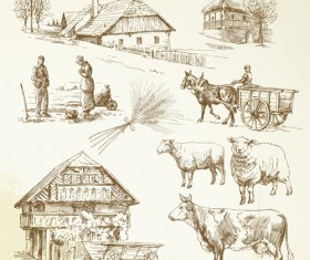 Hand drawn agriculture with farm vectors 01
