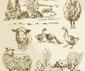 Hand drawn agriculture with farm vectors 02