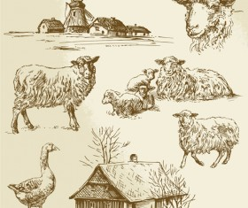 Hand drawn agriculture with farm vectors 03