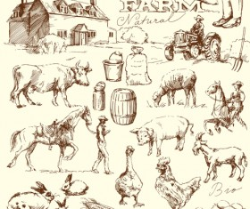 Hand drawn agriculture with farm vectors 04