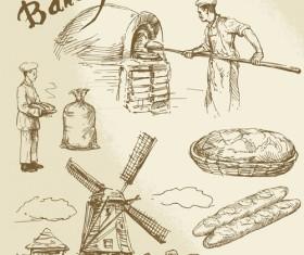 Hand drawn bakery making vector 01
