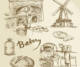 Hand drawn bakery making vector 02