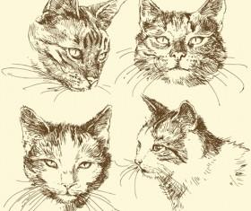 Hand drawn cat head vector material