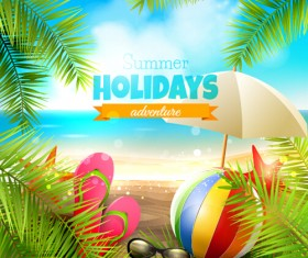 Happy summer holiday background vectors 03