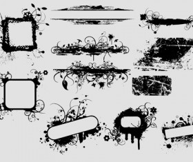 Ink floral frame vector design 01