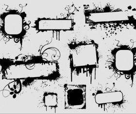 Ink floral frame vector design 02
