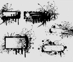 Ink floral frame vector design 03