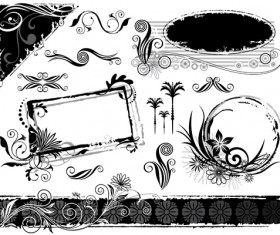 Ink floral frame vector design 05