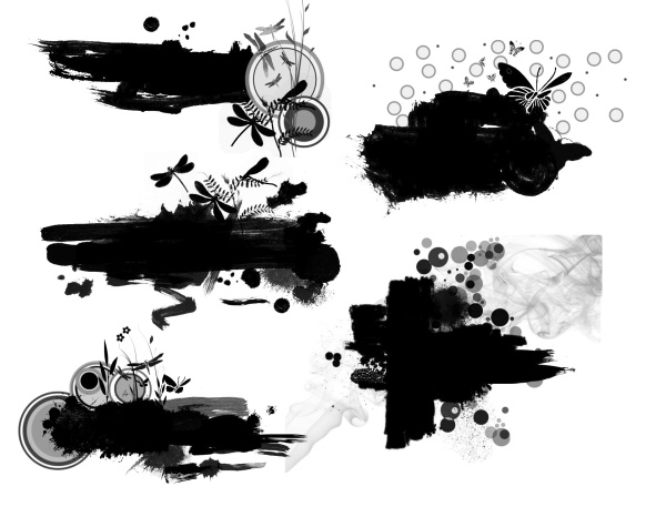 Ink with fashion elements photoshop brushes