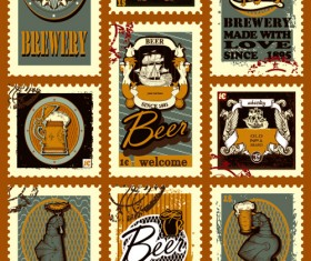 Lables beer retro vector material 01