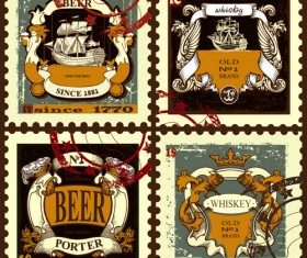 Lables beer retro vector material 02