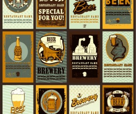 Lables beer retro vector material 03