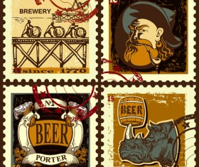 Lables beer retro vector material 04