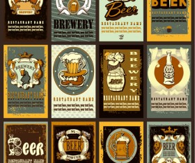 Lables beer retro vector material 05