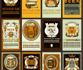 Lables beer retro vector material 06