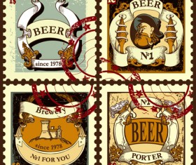Lables beer retro vector material 07