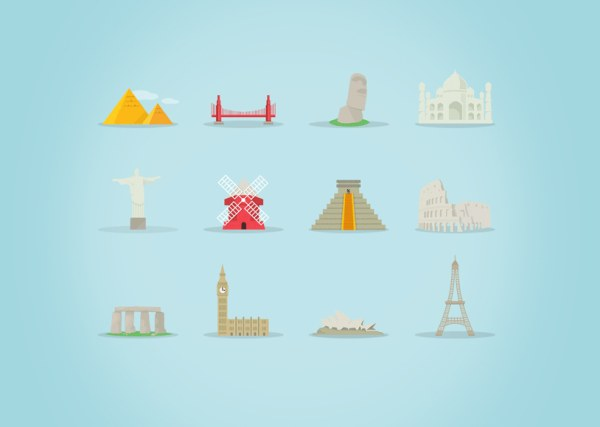 Landmark building vector icons
