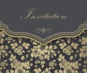 Luxury flower Invitation cards retro vector