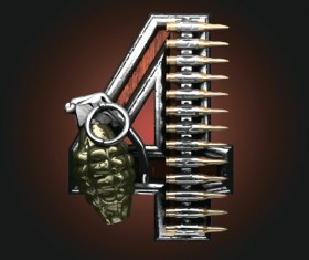 Military with metal number vintage vector 04