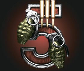 Military with metal number vintage vector 05