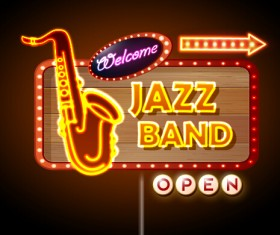 Neon sign jazz bar vector graphics 01