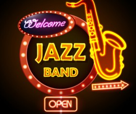 Neon sign jazz bar vector graphics 02