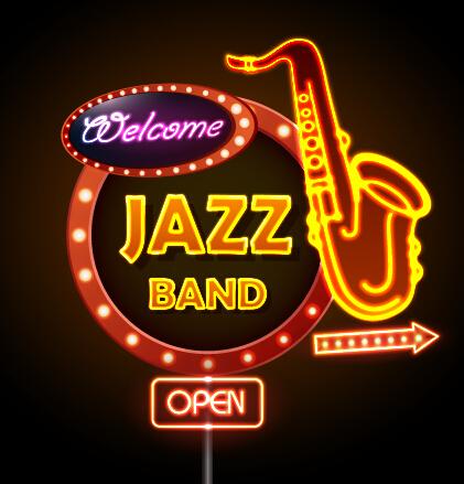 Neon Sign Jazz Bar Vector Graphics 02 Vector Logo Free