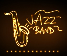 Neon sign jazz bar vector graphics 03