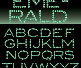 Ornate diamond alphabet font vector 02