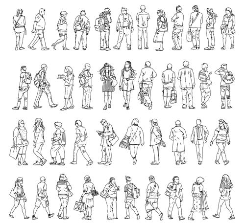 people outline silhouettes vector material 01 free download