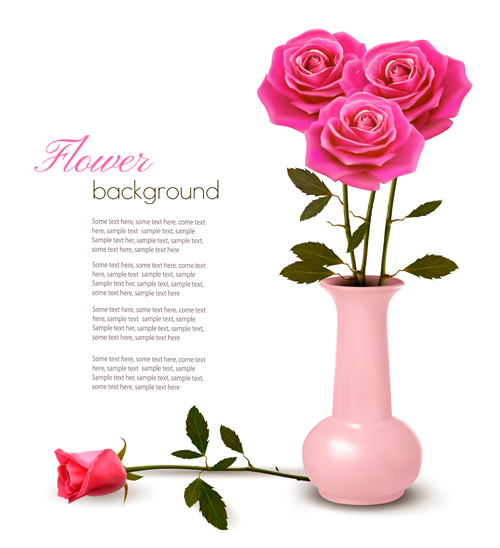 Pink rose beautiful background vectors 01