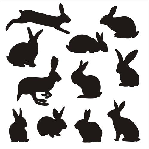 Rabbit cute silhouettes vectors - Vector Animal, Vector Silhouettes ...