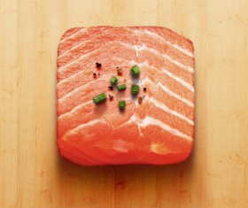 Realistic salmon meat icons PSD