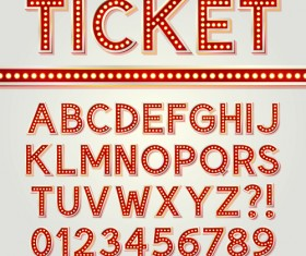 Red alphabet and number vector material