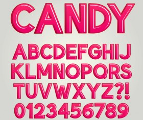 Red candy numbers and alphabets vector