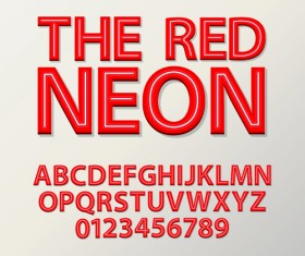 Red neon alphabet with number design vector
